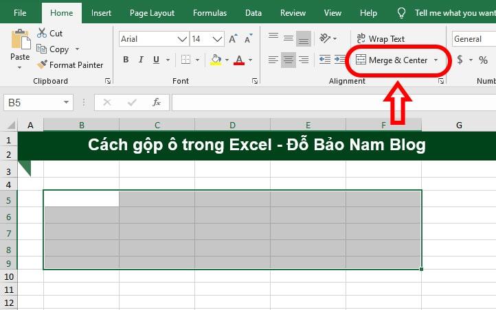 Cách gộp ô trong Excel bằng công cụ Merge & Center - B1