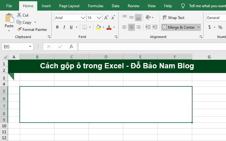 Cách gộp ô trong Excel bằng công cụ Merge & Center - B2