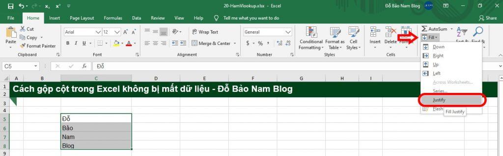 Cách gộp cột trong Excel không mất dữ liệu