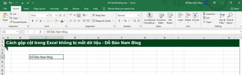 Cách gộp cột trong Excel không mất dữ liệu - Kết quả