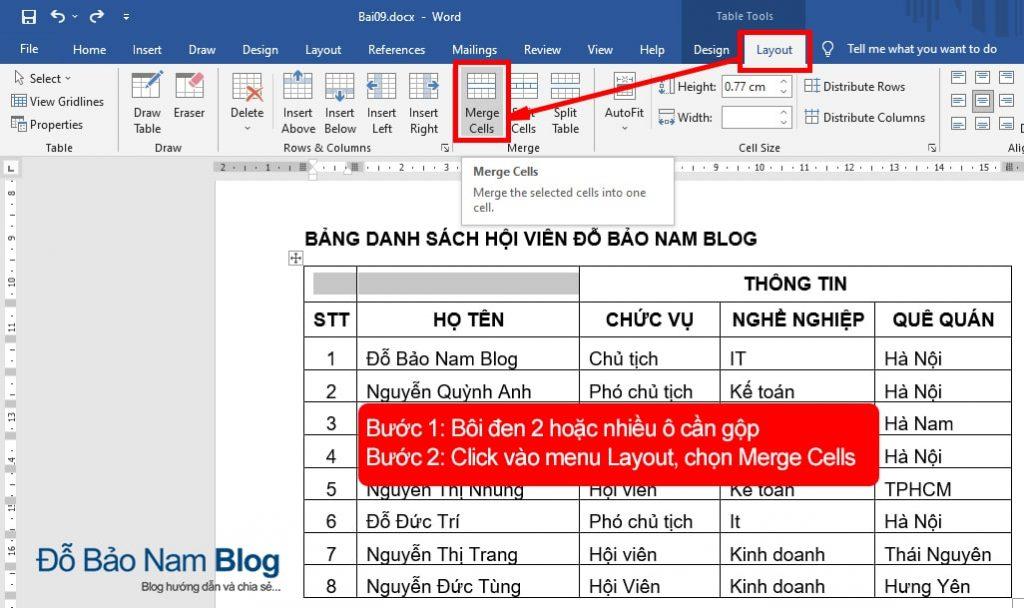 Cách gộp ô trong Word thao tác trên menu