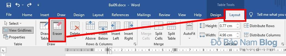 Cách gộp ô trong Word bằng công cụ công cụ Eraser