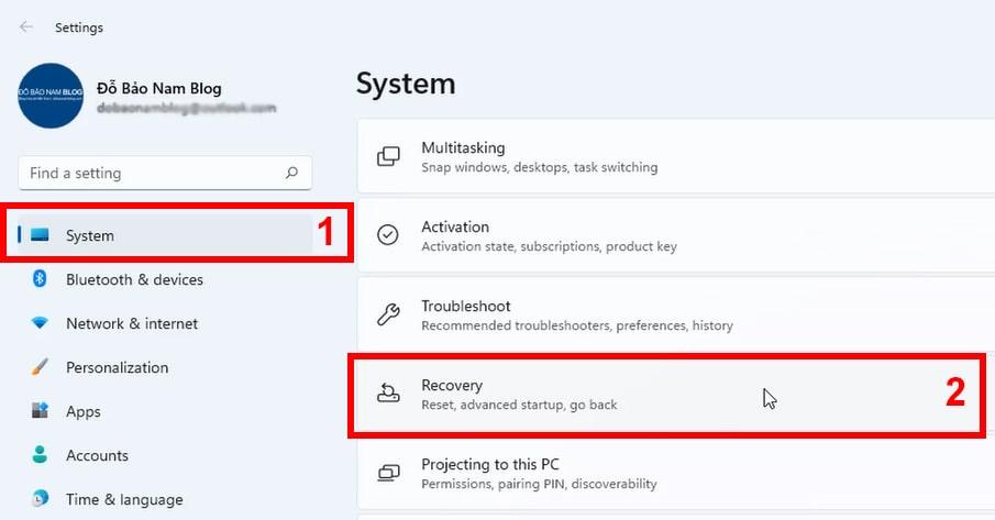 Tại menu System, bạn tìm và click vào Recovery
