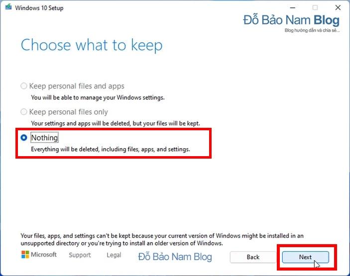 Tiếp theo, tại hộp thoại Choose What to Keep, bạn click chọn Nothing và tiếp tục nhấn Next.
