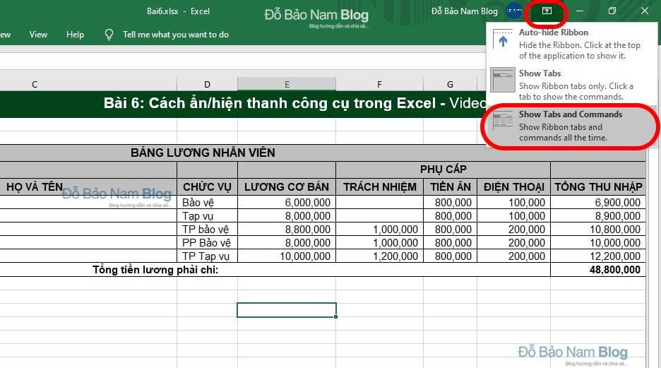 Cách ẩn/hiện thanh công cụ trong Excel 2013, 2016, 2019…