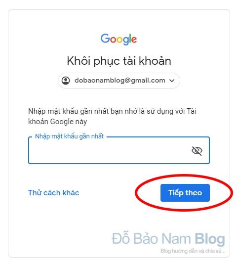 Hướng dẫn cách khôi phục tài khoản Google qua hình ảnh - Bước 03