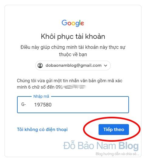 Hướng dẫn cách khôi phục tài khoản Google qua hình ảnh - Bước 05