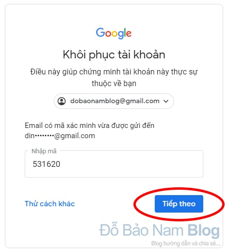 Hướng dẫn cách khôi phục tài khoản Google qua hình ảnh - Bước 09