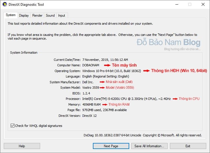 Xem cấu hình máy tính trên công cụ Directx Diagnostic Tool