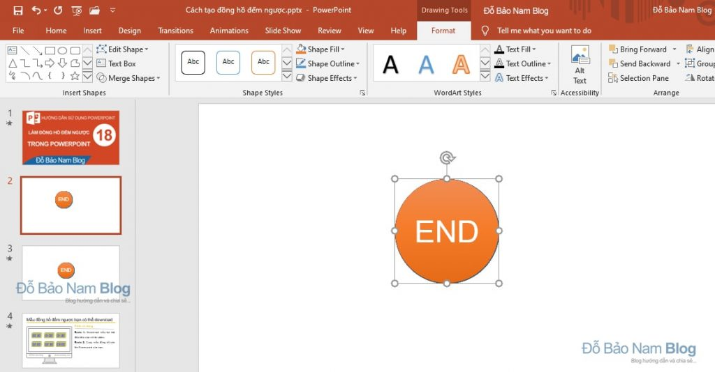 Align the clock in Powerpoint