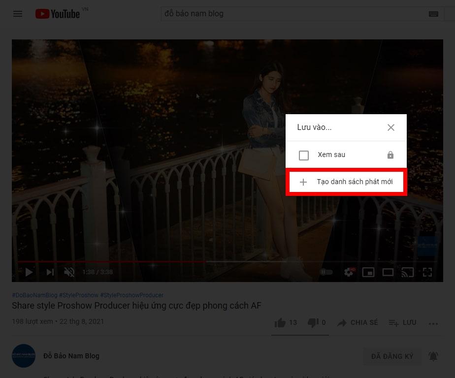Cách lặp lại video Youtube theo danh sách phát B2