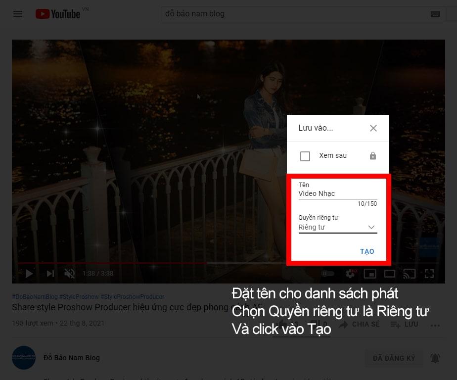 Cách lặp lại video Youtube theo danh sách phát B3