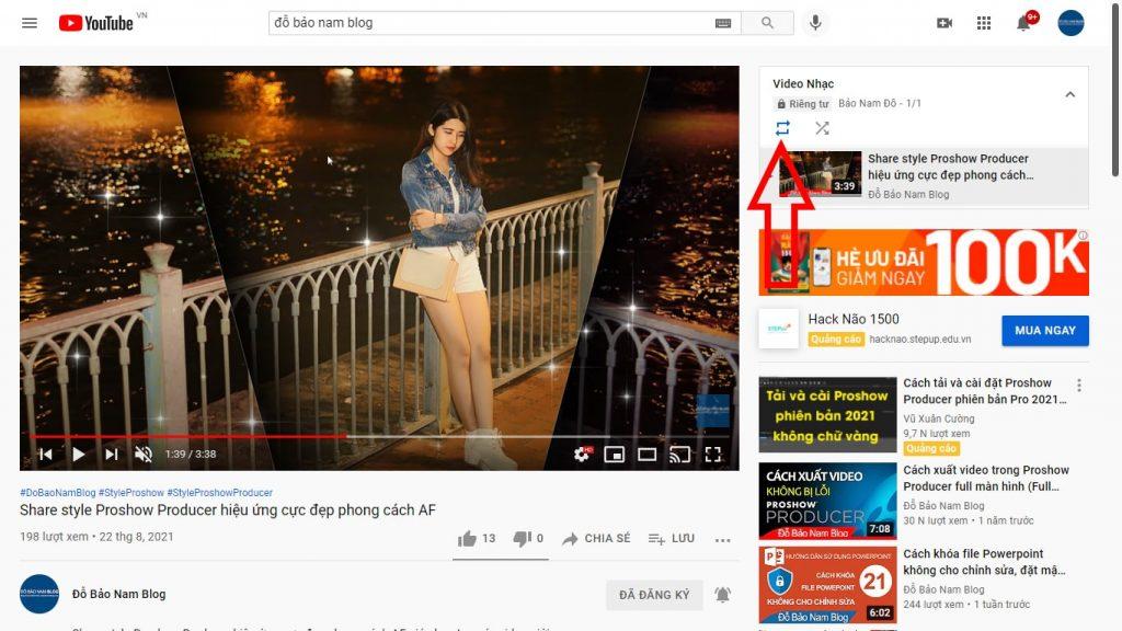 Cách lặp lại video Youtube theo danh sách phát B5