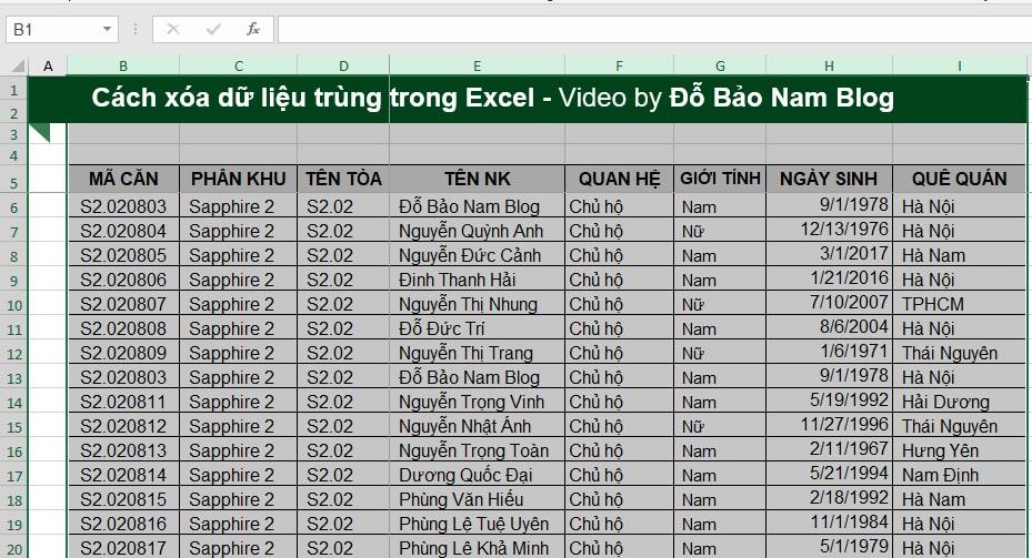 Cách lọc trùng trong Excel bằng lệnh Remove Duplicates