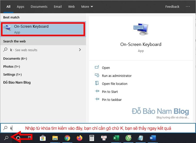 Cách mở bàn phím ảo Win 10 nhanh nhất từ thanh taskbar