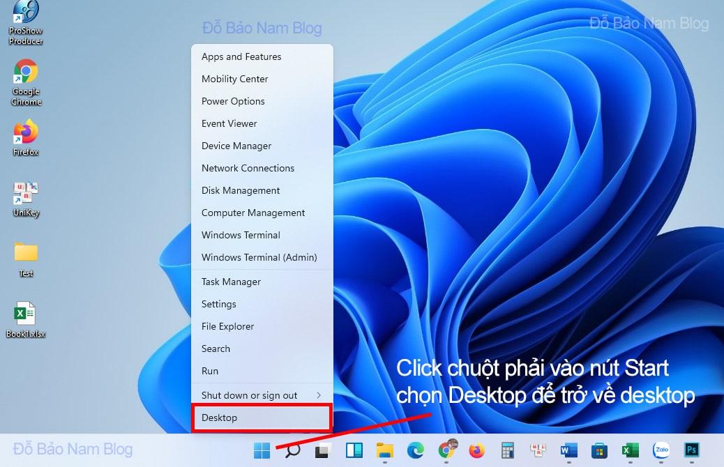Click chuột phải vào nút Start, chọn Desktop