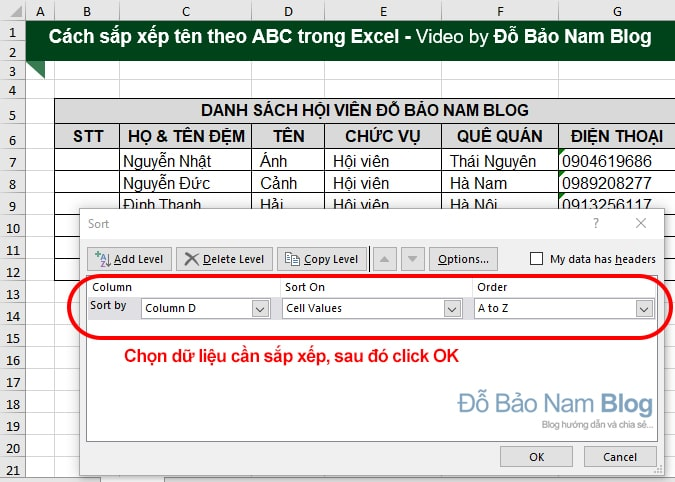 Steps to sort by abc name in Excel through pictures