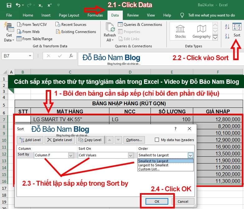 Hướng dẫn cách sắp xếp thứ tự trong Excel qua ảnh minh họa