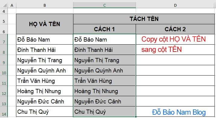 Cách tách tên trong Excel bằng Find and replace