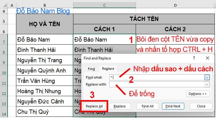 Cách tách tên trong Excel bằng Find and replace - B2