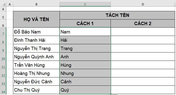Cách tách tên trong Excel bằng Find and replace - Kết quả
