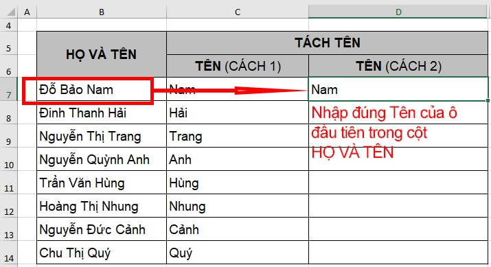 Tách tên trong Excel bằng công cụ Flash Fill - B1