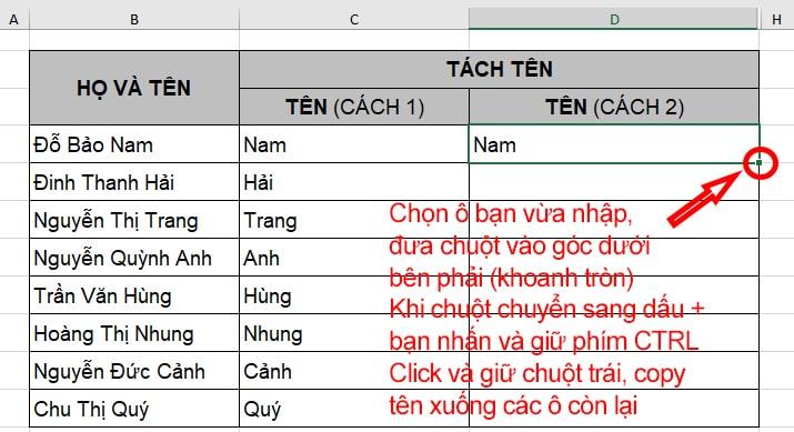 Tách tên trong Excel bằng công cụ Flash Fill - B2