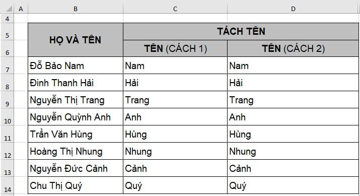 Tách tên trong Excel bằng công cụ Flash Fill - B4