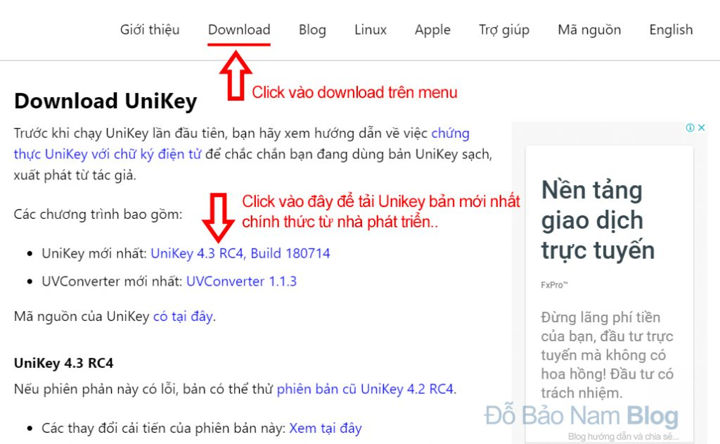How to download the official version of Unikey for free from the developer