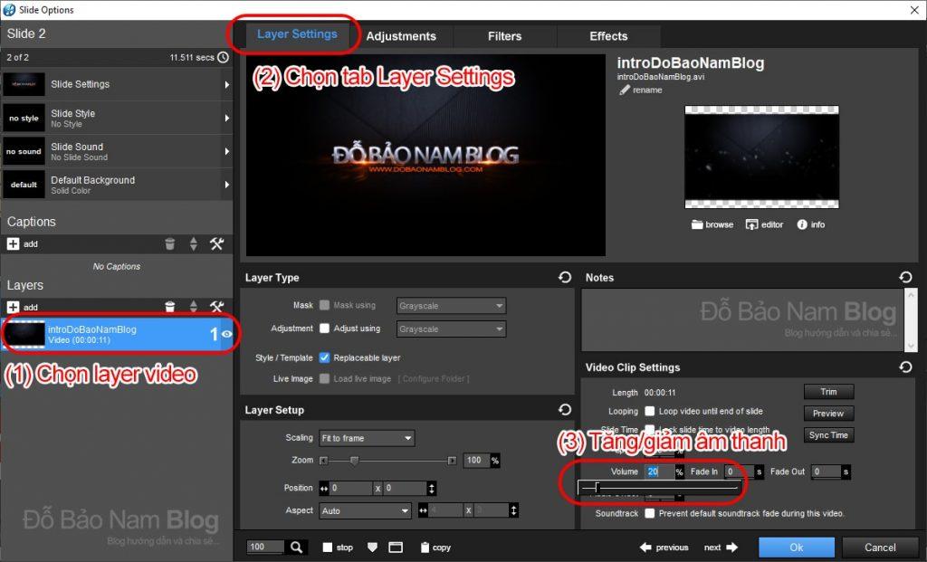 Cách tách, tăng giảm âm thanh của video trong Proshow Producer
