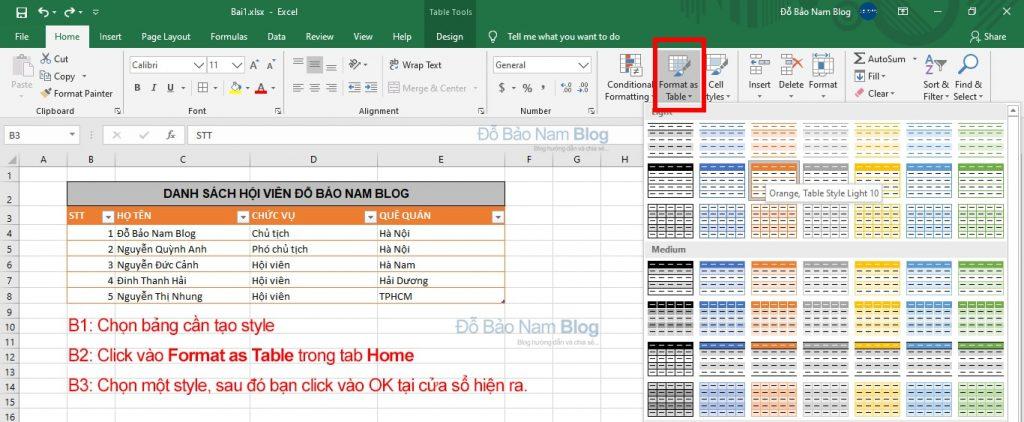 Tạo style trong Excel cho bảng tính
