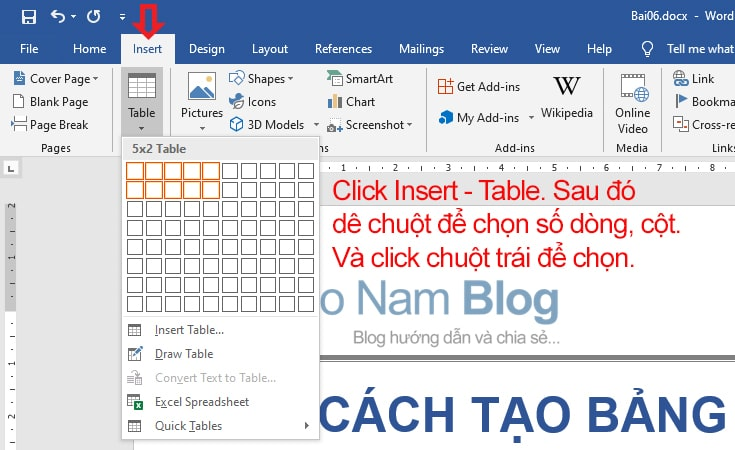 How to create a table in Word fastest 01
