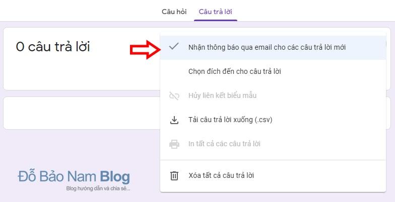 Thiết lập Nhận thông báo qua email cho các câu trả lời mới