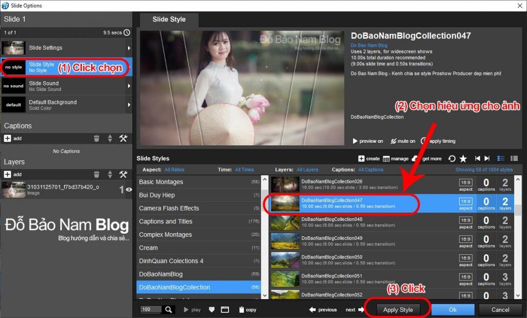 Cách tạo hiệu ứng trong Proshow Producer cho ảnh/video