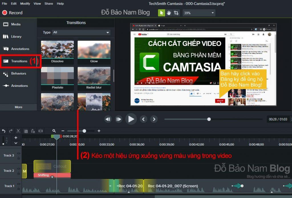 Cách chèn transitions vào video Camtasia