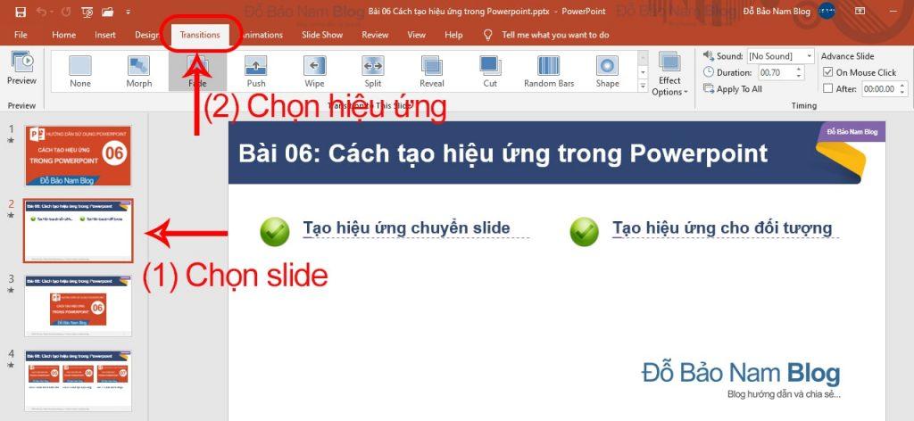 Cách tạo hiệu ứng chuyển tiếp giữa các slide trong Powerpoint