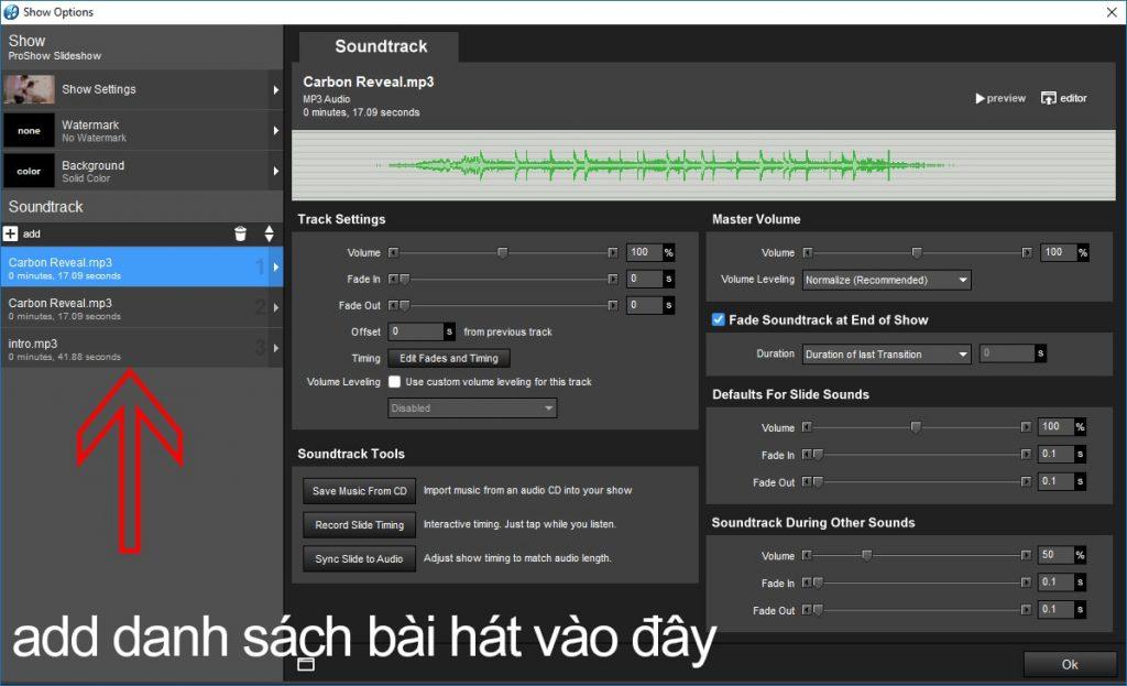 Cách tạo liên khúc nhạc bằng Proshow Producer, tạo liên khúc bài hát trong Proshow -2