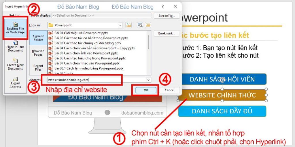 Cách tạo liên kết trong Powerpoint đến website khác