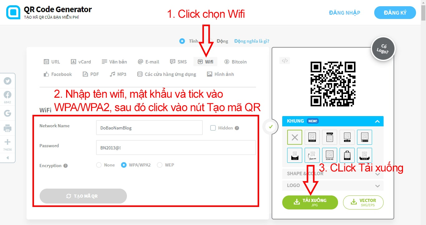 Instructions on how to create a QR code wifi code details