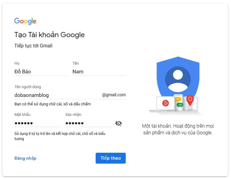 Hướng dẫn cách tạo tài khoản Gmail Google mới nhất - Bước 02