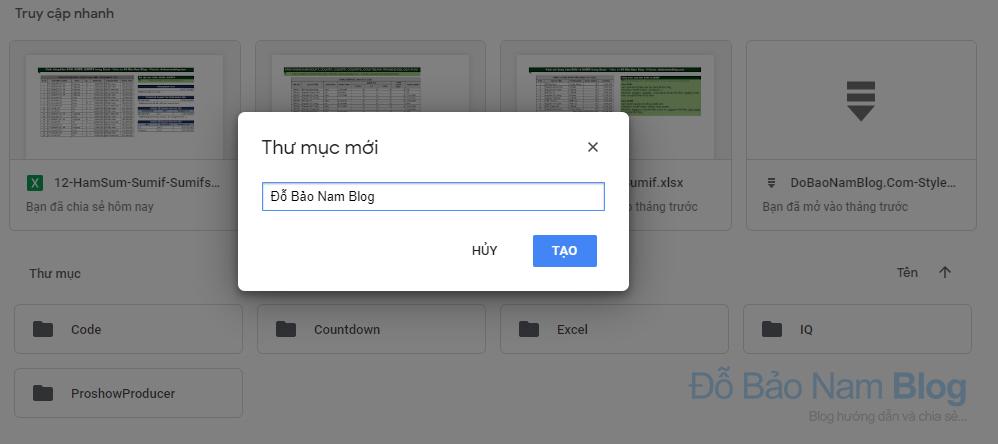 Cách tạo thư mục trên Google Driver - Đặt tên cho thư mục