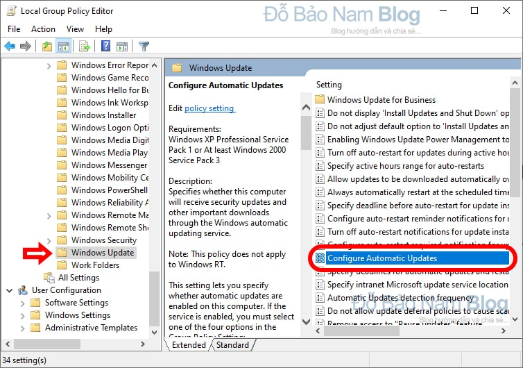 Tìm đến Configure Automatic Update trong cửa sổ Group Policy Editor