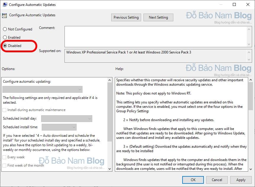 Click đúp chuột vào Configure Automatic Update và chọn Disabled