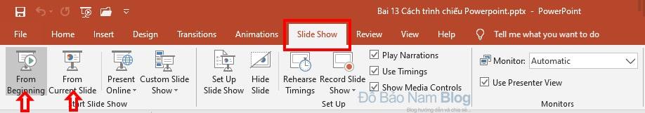 Cách trình chiếu Powerpoint từ slide đầu tiên