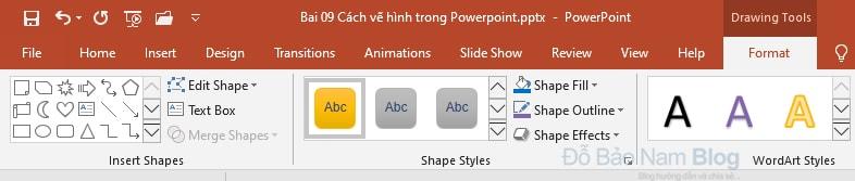 Các thiết lập cho hình vẽ trong Powerpoint