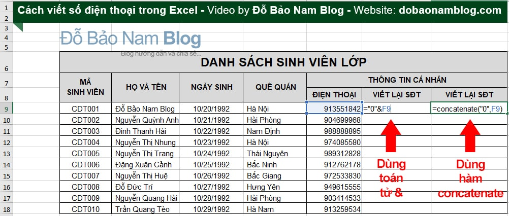 Cách viết số điện thoại trong Excel bằng hàm