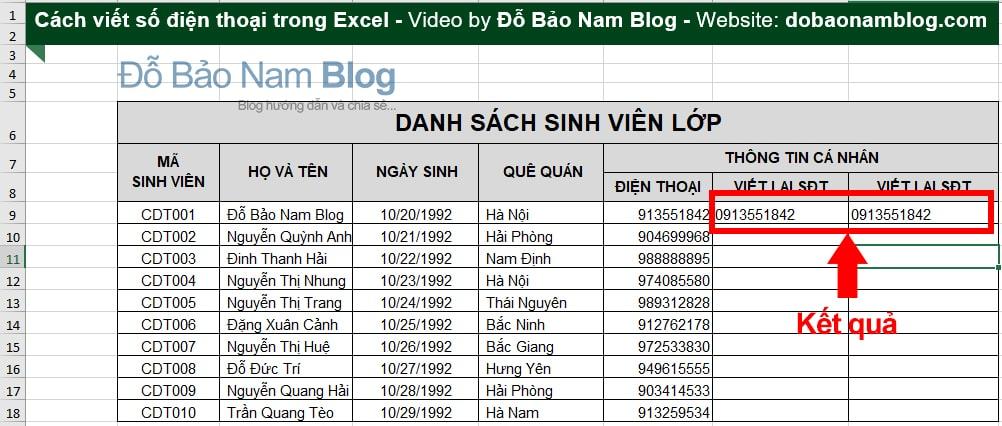 Cách viết số điện thoại trong Excel bằng hàm - Kết quả