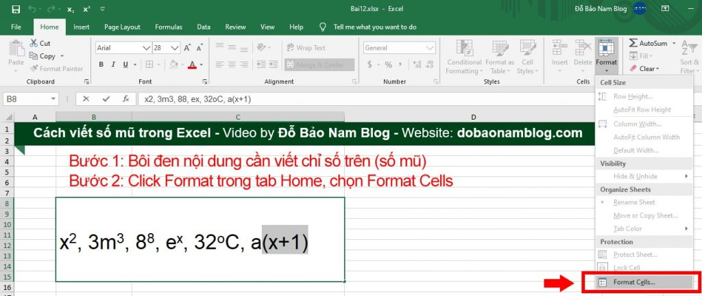 Cách viết số mũ trong Excel chi tiết - Bước 1