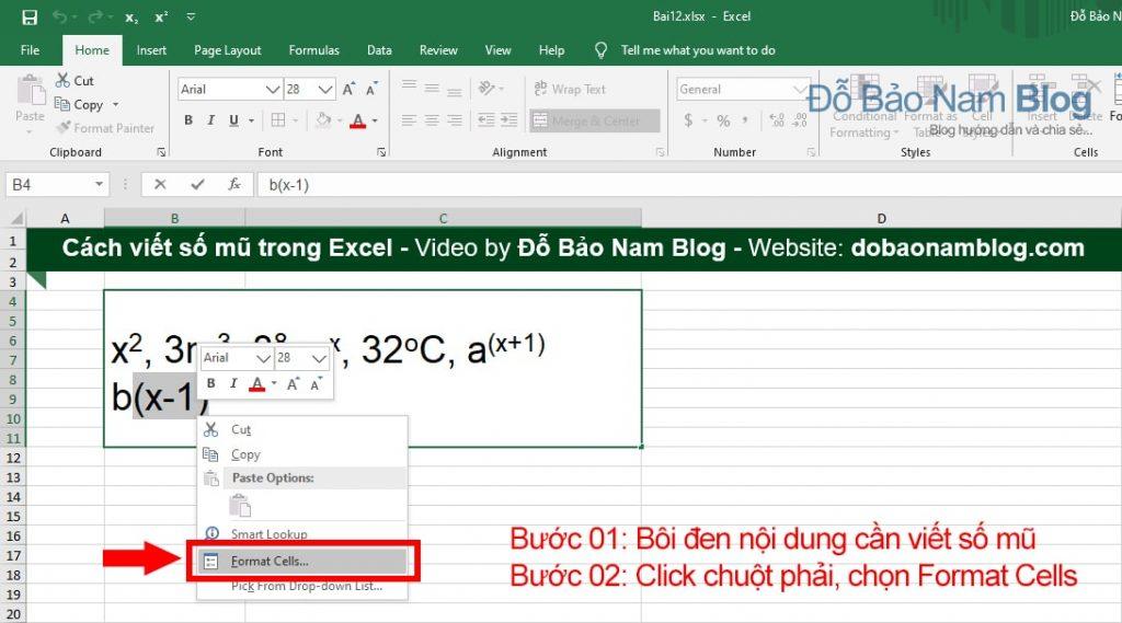 Cách viết số mũ trong Excel chi tiết - Cách 02