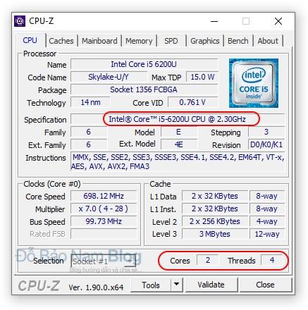Cách kiểm tra cấu hình máy tính bằng phần mềm CPU-Z - tab CPU